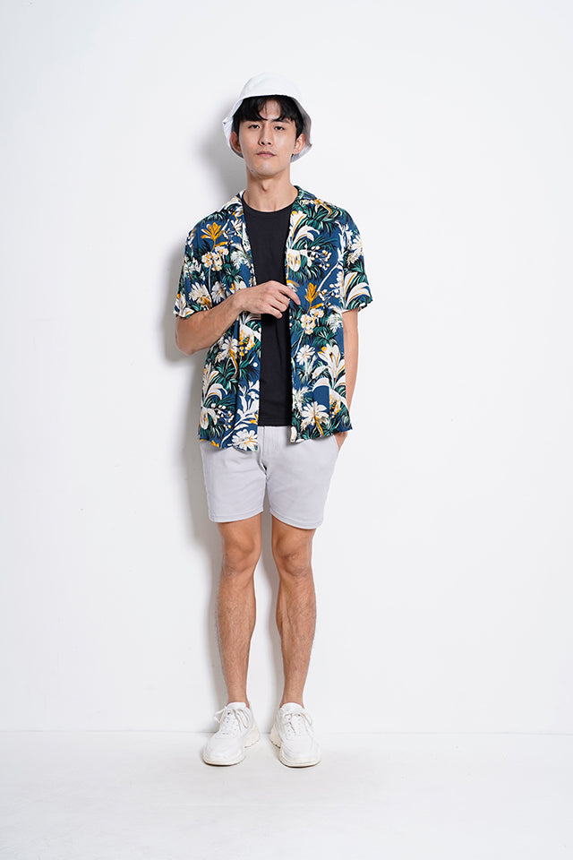 Floral Short Sleeve Shirt - Blue
