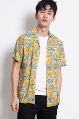 Floral Short Sleeve Shirt - Yellow