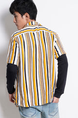 Stripe Short Sleeve Shirt - Yellow