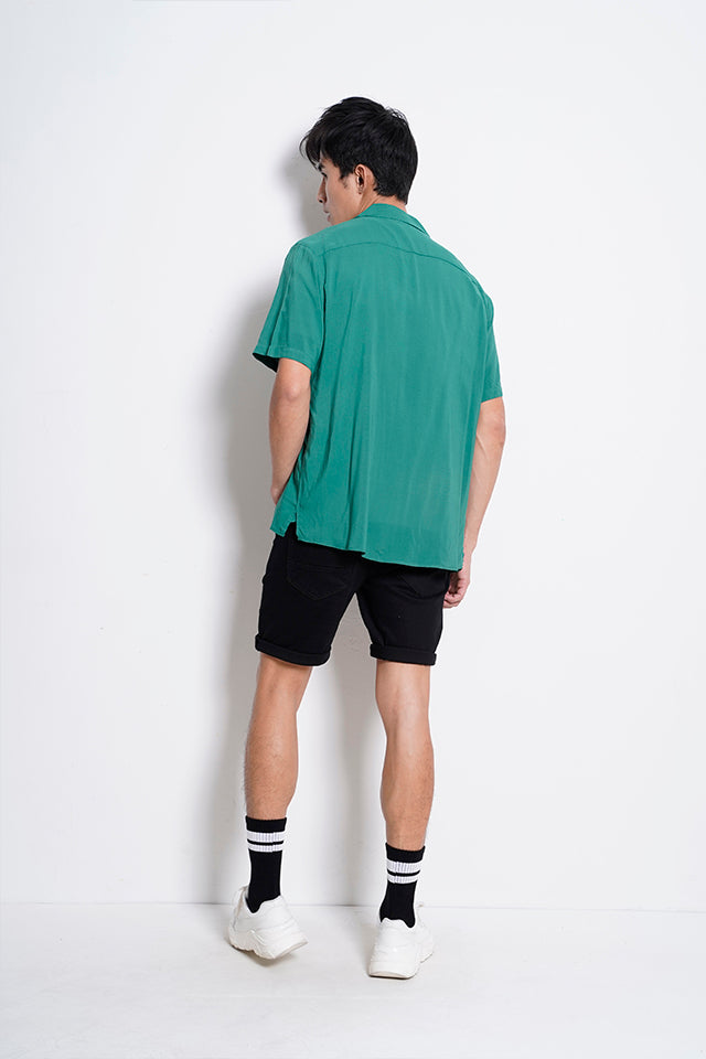 Men Plain Short Sleeve Shirt - Dark Green - XYS20H2313