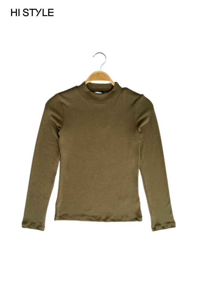 Women Ribbed  Long Sleeve Turtle Neck Blouse - Army Green
