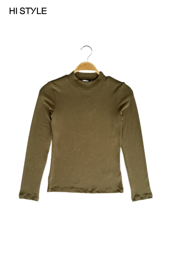Ribbed  Long Sleeve Turtle Neck Blouse - Army Green