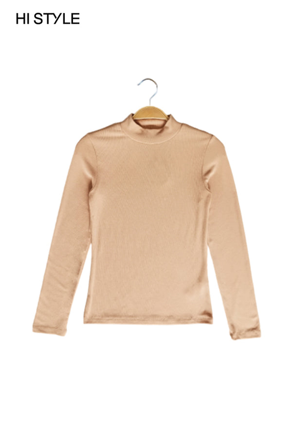 Ribbed  Long Sleeve Turtle Neck Blouse - Khaki
