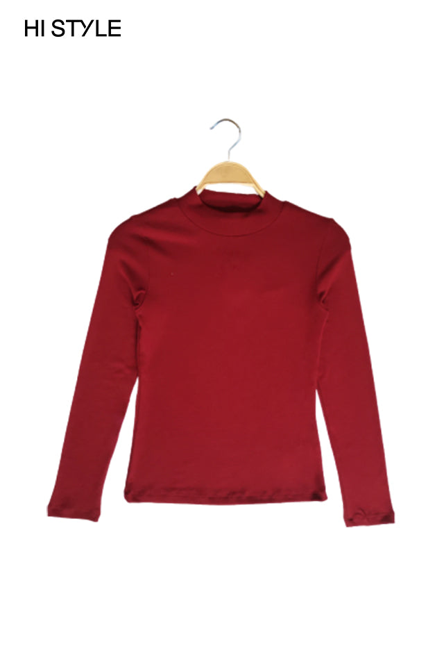 Ribbed  Long Sleeve Turtle Neck Blouse - Marron