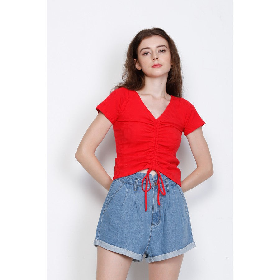 Women Twist Front Short Sleeve Blouse - Red
