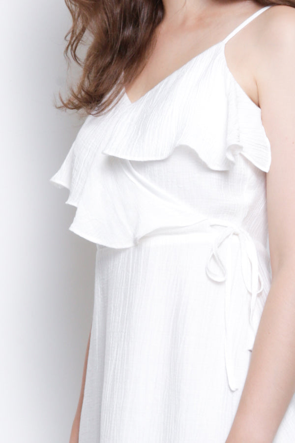 Women Ruffle Strap Dress - White - USS9F1540
