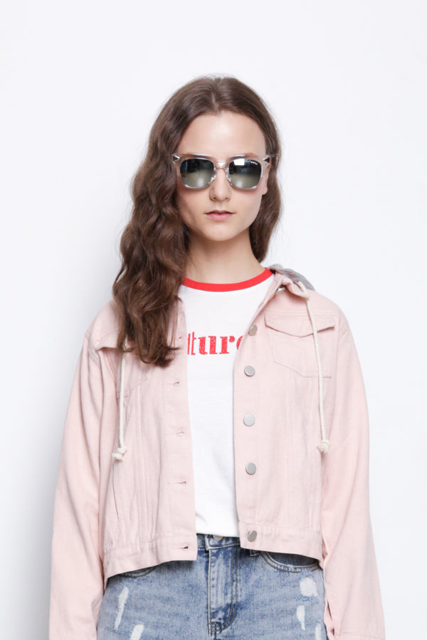 Detachable Hoodie Denim Jacket - Pink