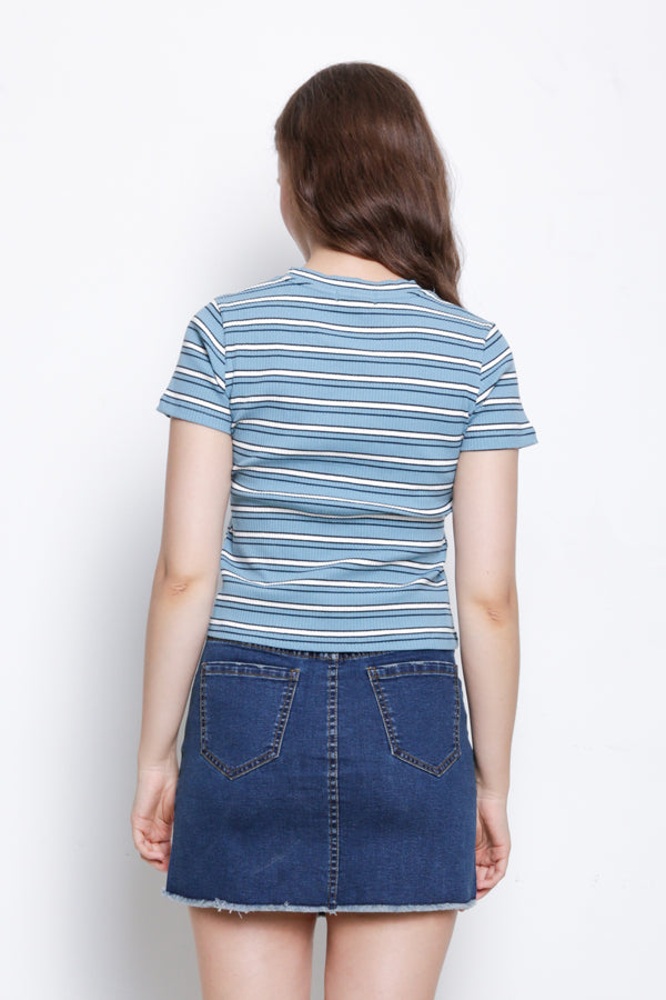 Short Sleeve Stripe Ribbed Tee - Blue