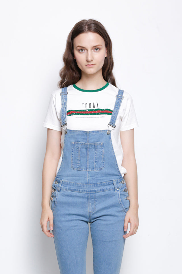 Long Denim Dungaree - Light Blue
