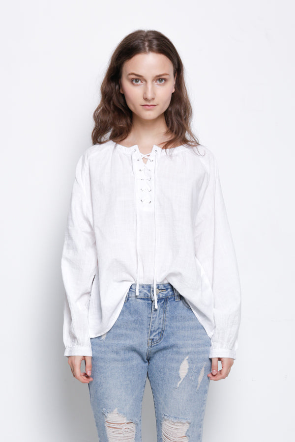 Woven Front Cross Tied Long Sleeve Bouse  - White