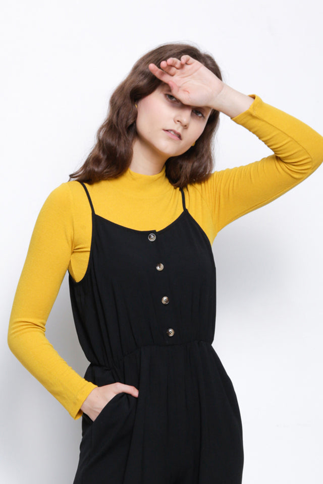 Ribbed Mock Neck Long Sleeve Blouse - Yellow