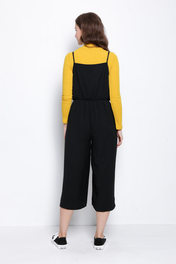 Strap Long Jumpsuit - Black