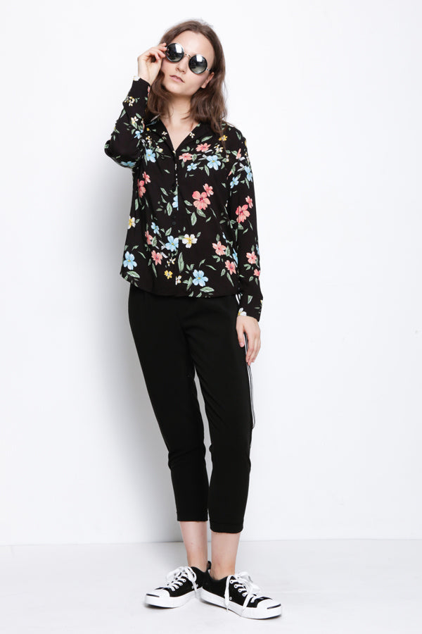 Floral Woven Long Sleeve Blouse - Black