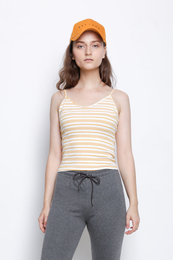 Stripe Ribbed Camisole Top - Yellow