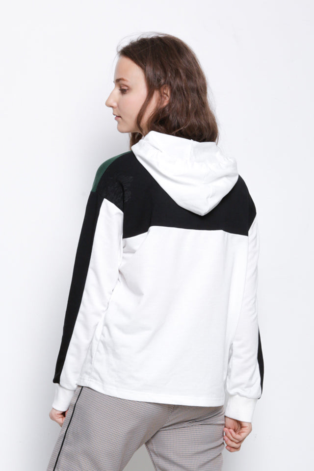 Cut & Sew Hoodie Pullover - White