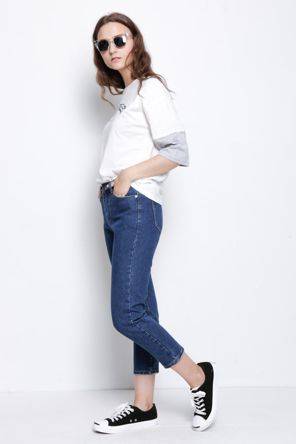 Knit Short Sleeve Blouse - White