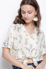 Floral Tie Front Short Sleeve Blouse - White