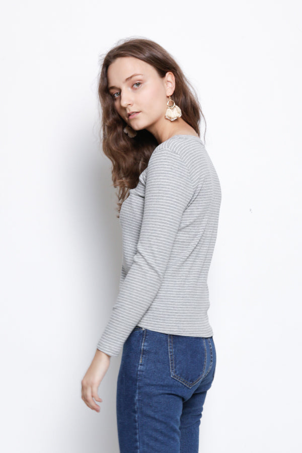 Stripe Front Cross Long Sleeve Blouse - Grey
