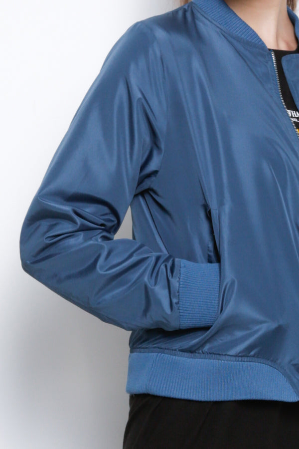 Women Nylon Bomber Jacket - Blue