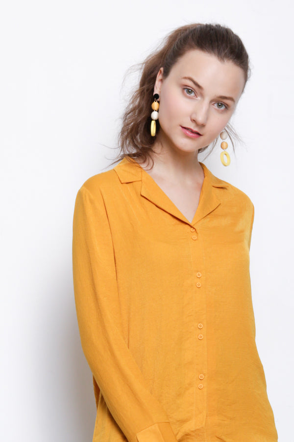 Woven Long Sleeve Blouse - Yellow