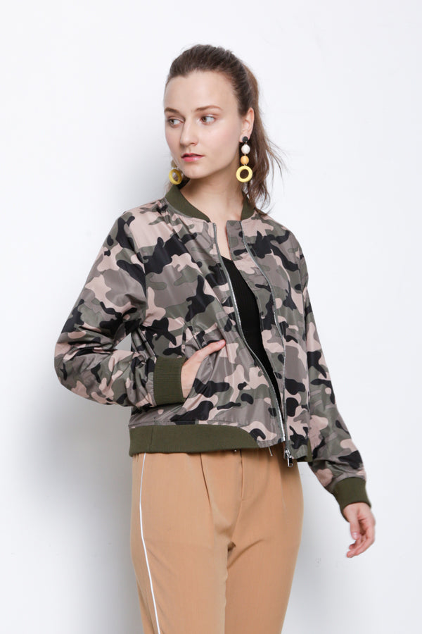 Camouflage Bomber Jacket - Army Green