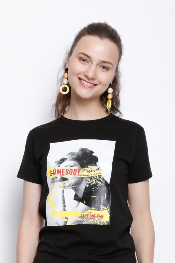 Women Short Sleeve Graphic T-Shirt  - Black