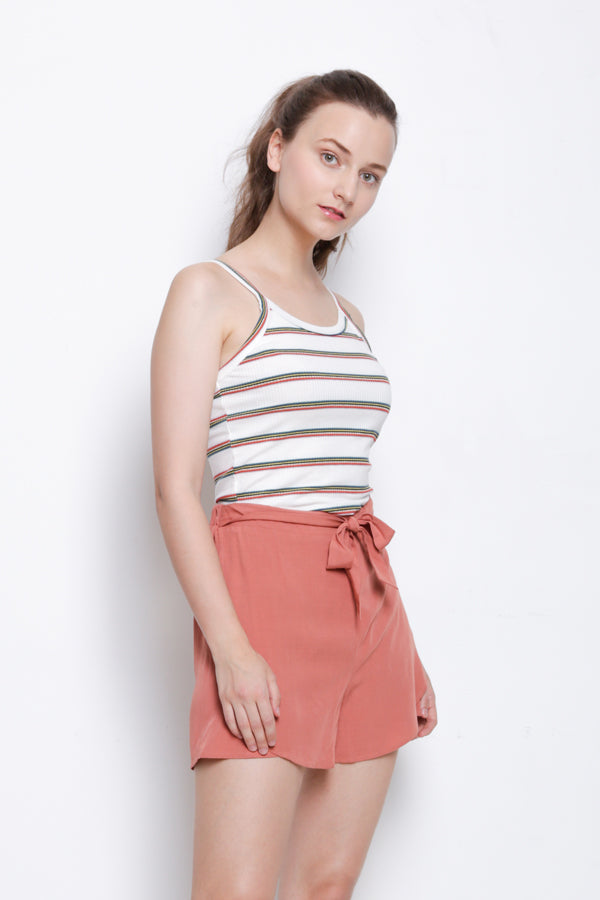 Women Stripe Ribbed Camisole Top - White - YCS9F1524