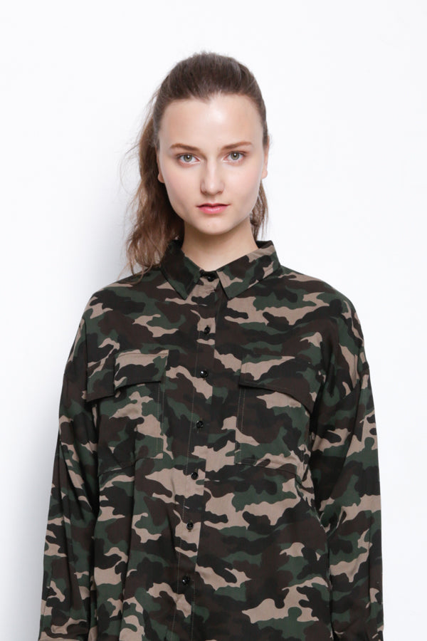 Camoflage Long Sleeve Blouse - Army Green