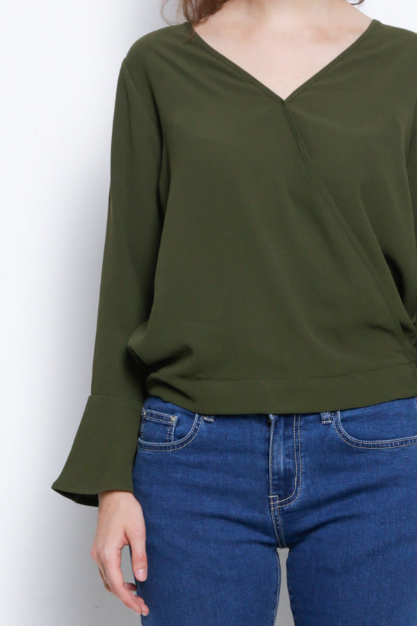 Long Sleeve Ruffle Sleeve Woven Blouse - Army Green