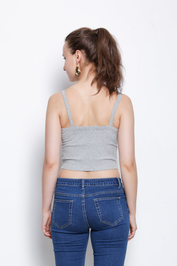 Women Ribbed Camisole Top - Grey - YCS9F1525