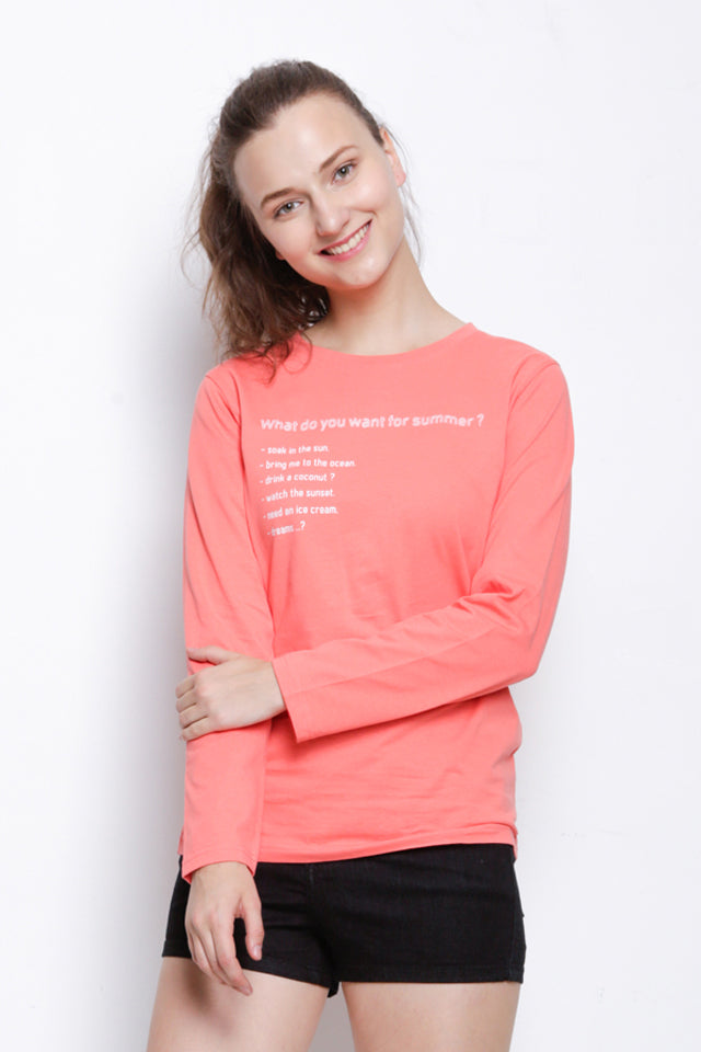 Graphic Long Sleeve T-Shirt - Pink