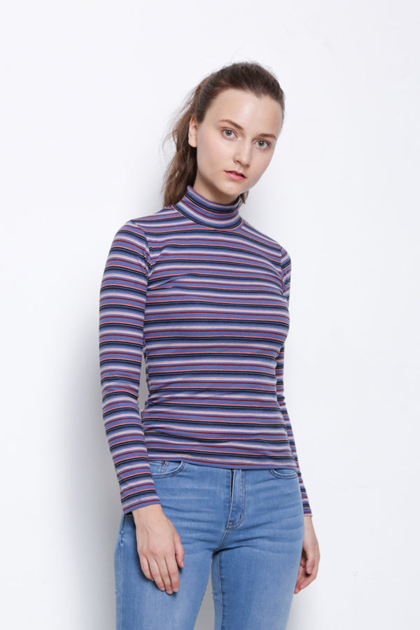 Ribbed Stripe Long Sleeve Turtle Neck Blouse - Blue