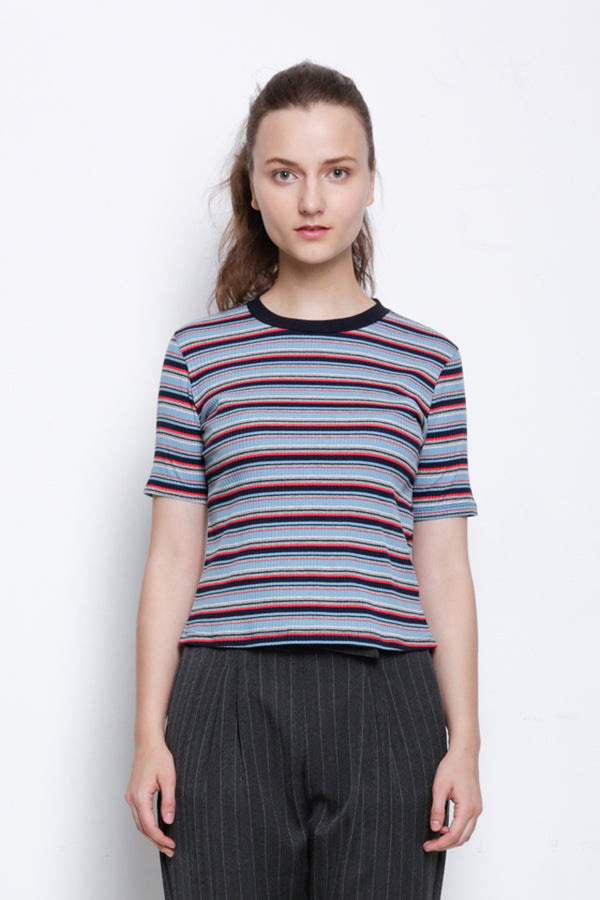 Ribbed Short Sleeve Blouse - Navy