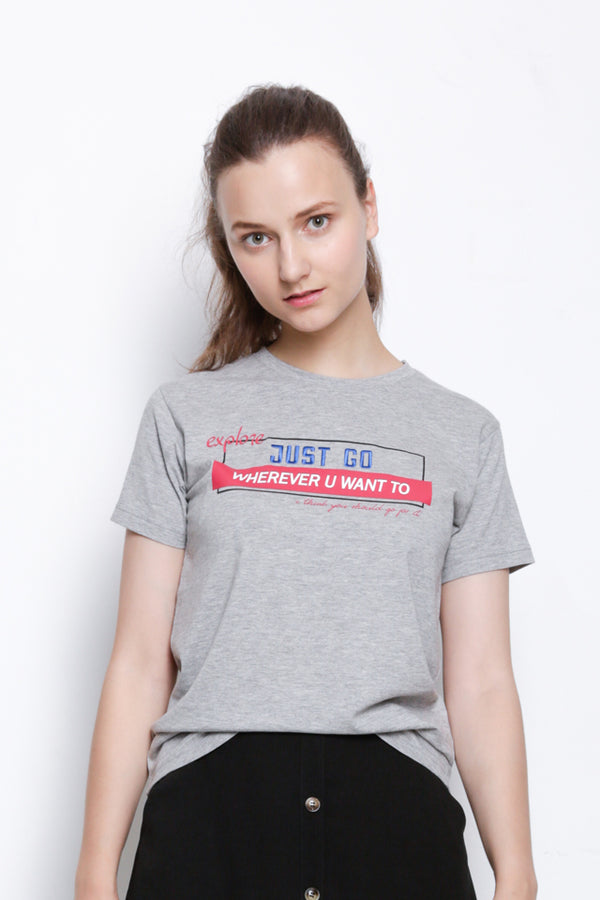 Women Short Sleeve Slogan T-Shirt With Embroidery - Grey