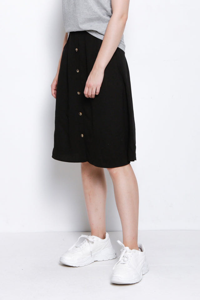 Button Down Flared Skirt - Black