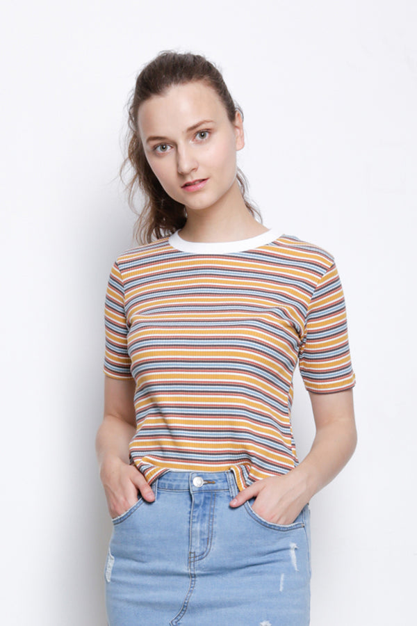 Ribbed Short Sleeve Blouse - Yellow
