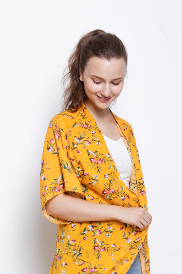 Floral Long Cardigan - Yellow