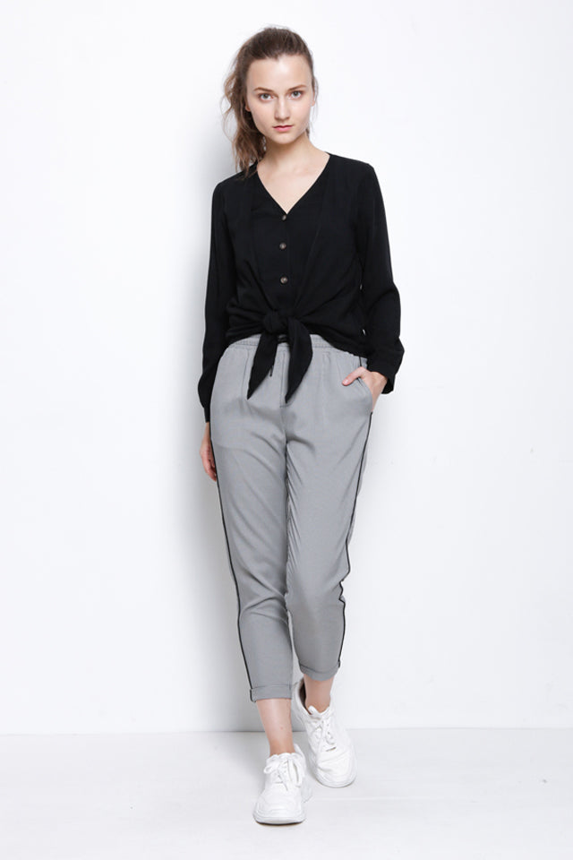 Tied Front Long Woven Blouse - Black