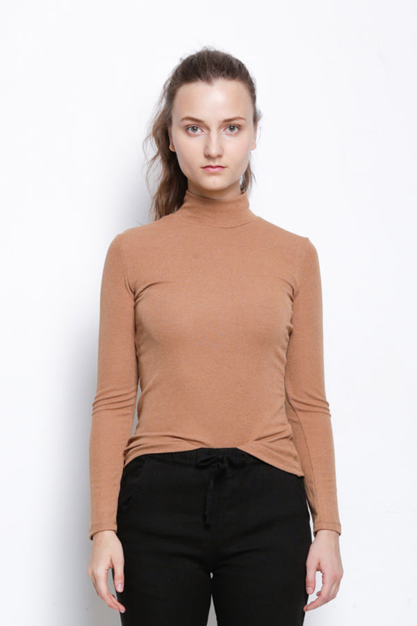 Ribbed Mock Neck Long Sleeve Blouse - Brown