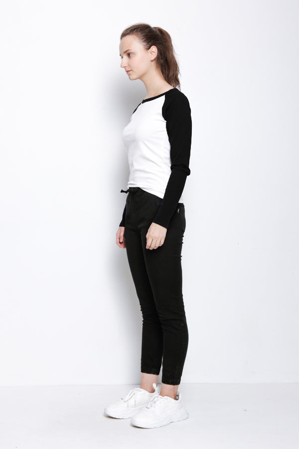 Long Sleeve Raglan Tee - Black
