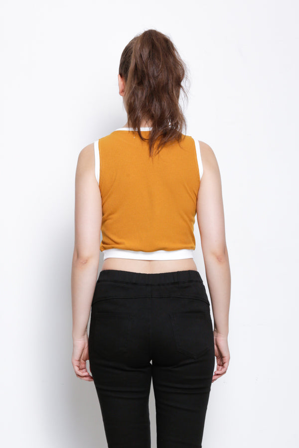 Women Crop Sleeveless Top - Yellow