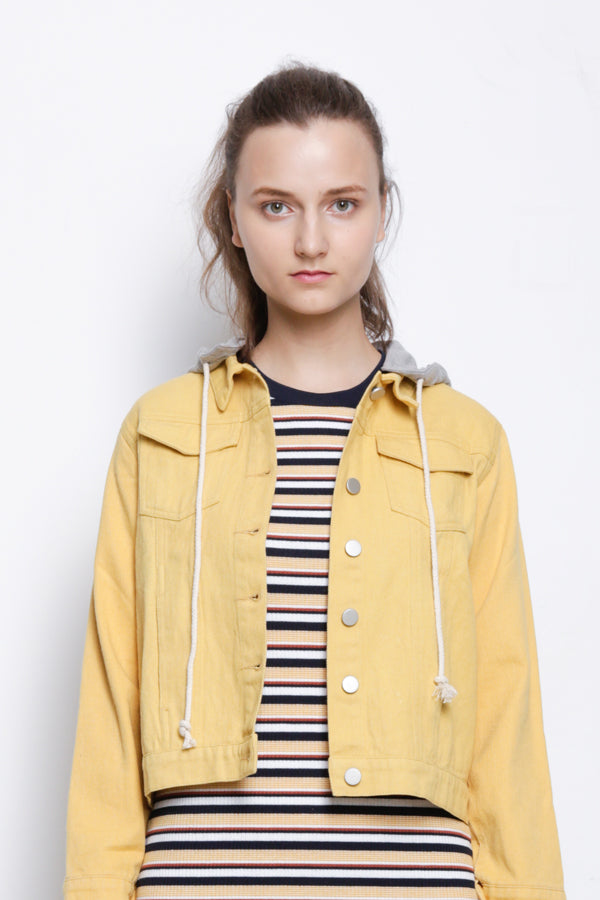Detachable Hoodie Denim Jacket - Yellow