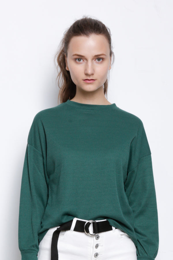 Long Sleeve Knit Blouse - Green
