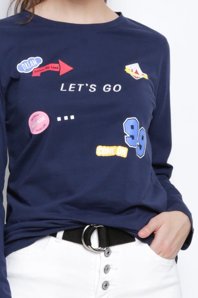 Long Sleeve Graphic T-Shirt - Navy