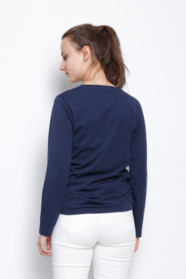 Women Long Sleeve Graphic T-Shirt - Navy