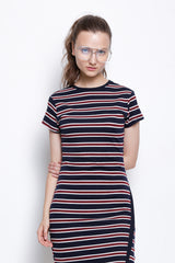 Stripe Bodycon Midi Dress - Navy