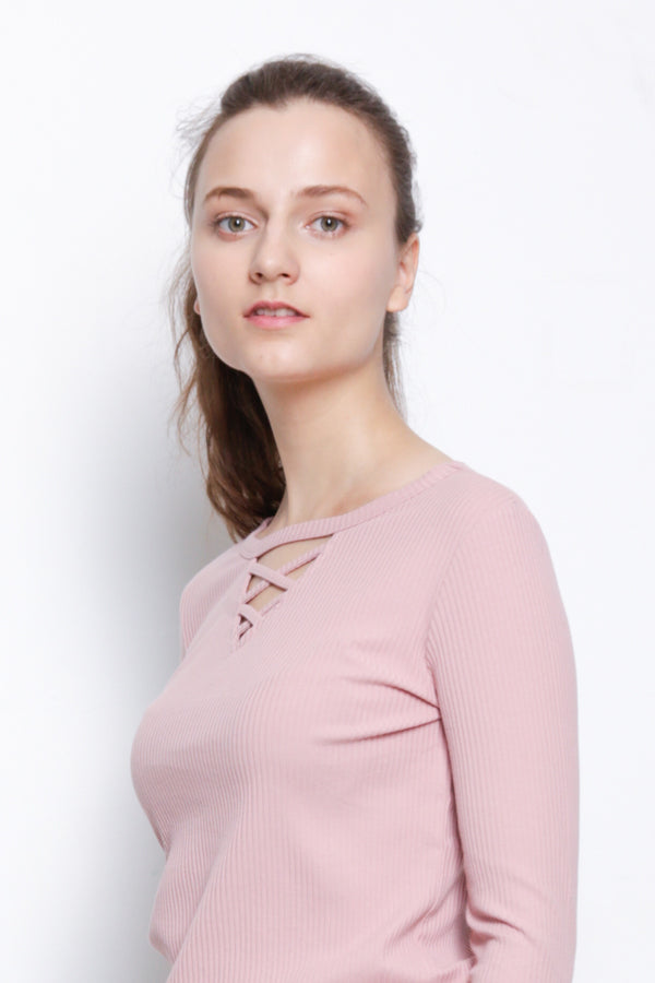 Front Cross Long Sleeve Blouse - Pink