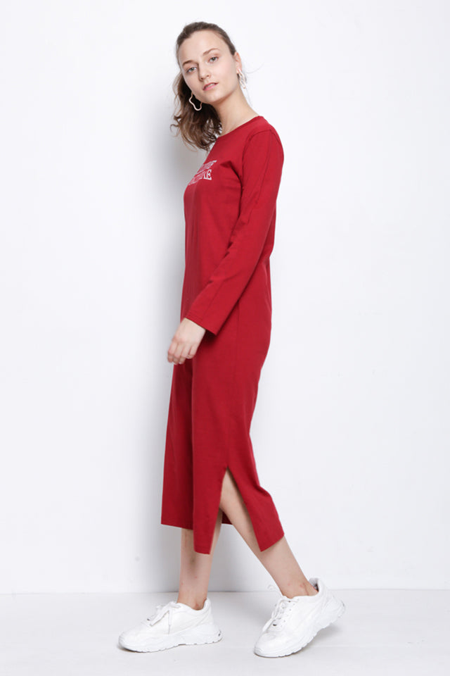 Graphic Long Sleeve  T-Shirt Dress - Red