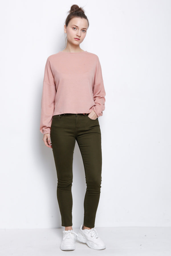 Women Slim Fit Long Jeans - Army Green