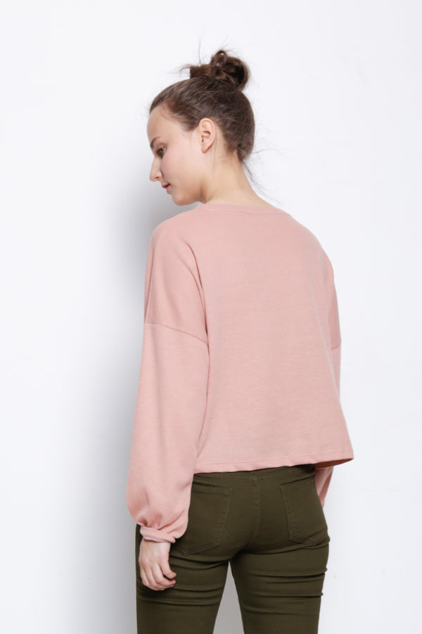 Long Sleeve Knit Blouse - Pink